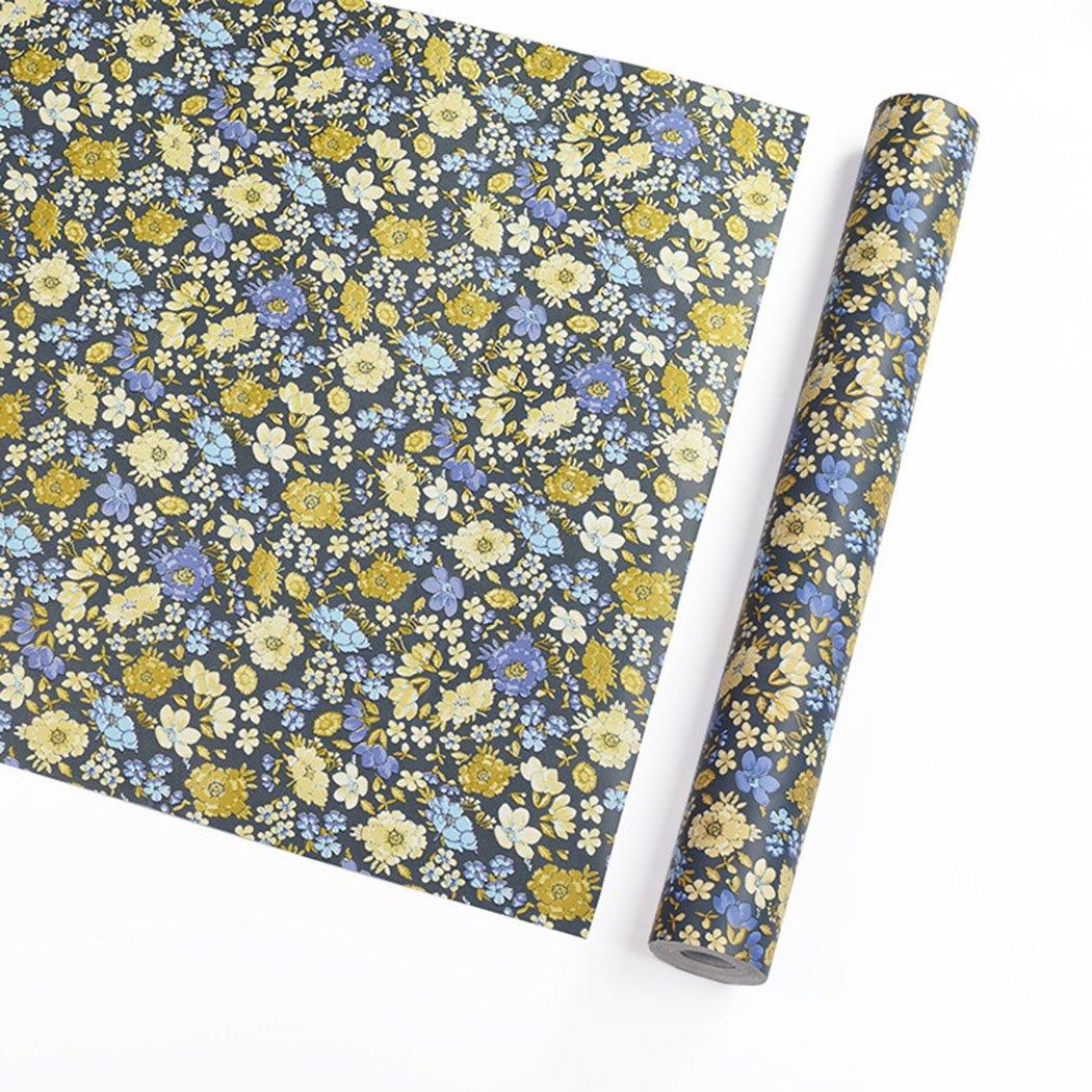 Autocollant Bleu vintage Motif floral papier Contact Shelf Liner pour armoires étagères tiroir Arts and Crafts Autocollant 45x 199,9cm