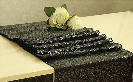 Camino de mesa negro brillante lentejuelas Glitz cena fiesta boda ...