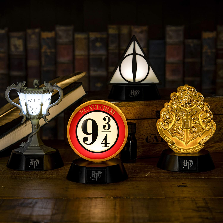 Ideal noche para dormitorios de ni/ños Pop Cultura Iluminaci/ón Merchandise Inspirado en la serie Harry Potter Icono de las Reliquias de la Muerte BDP oficina y hogar Paladone Negro