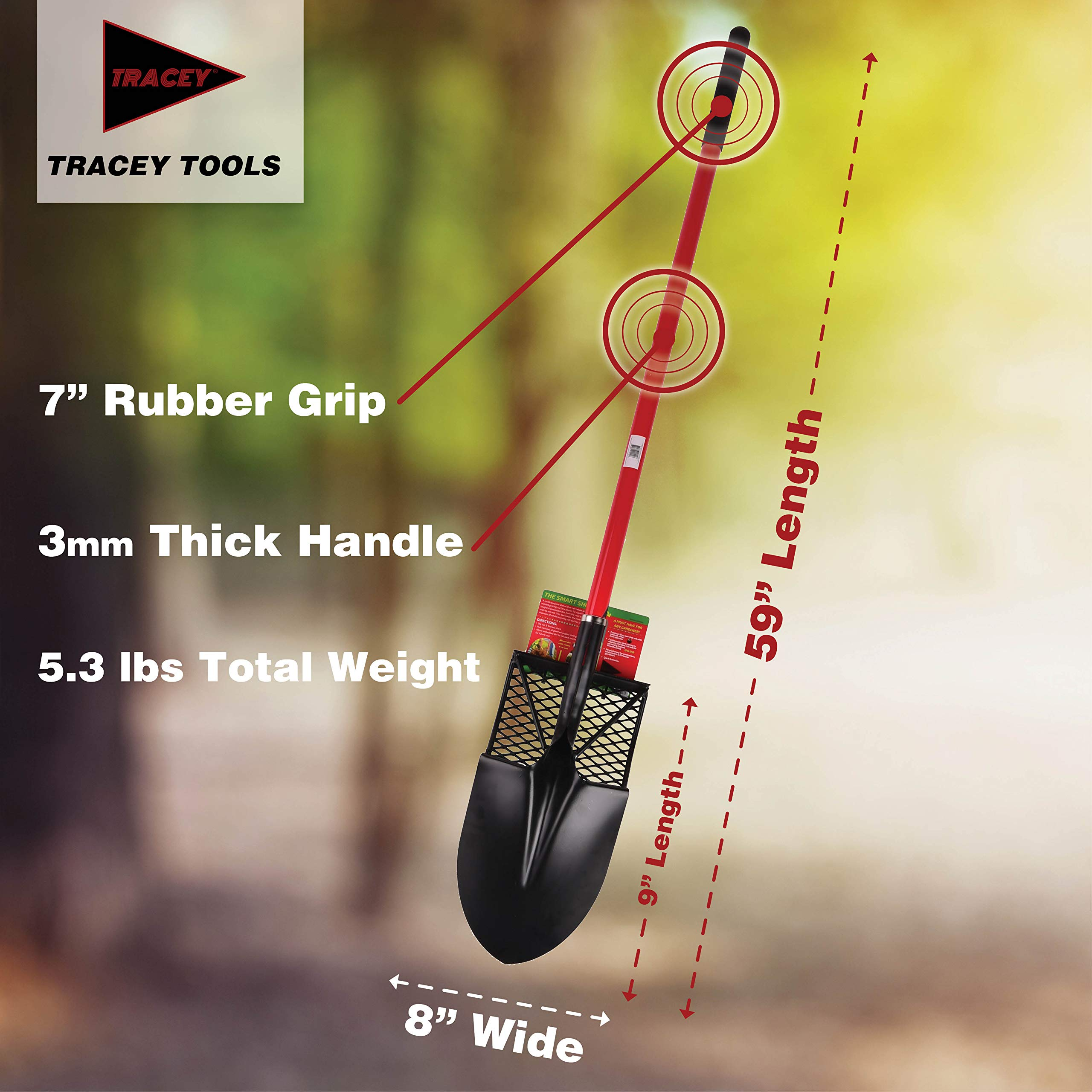 Tracey Garden Shovel with Long Fiberglass Handle for Digging, Transplanting and Gardening Round Point Spade Smart Shovel Design Tools