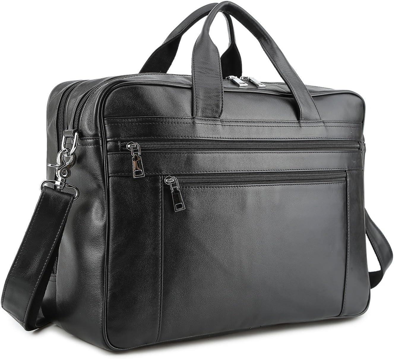 BAIGIO Mens Briefcase Messenger Bags Large, Black-17 Inches Napa Leather Laptop Bags Multi-Pocket Business Work Shoulder Bag