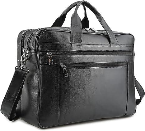 BAIGIO 17 pouces sac d'ordinateur portable en cuir véritable