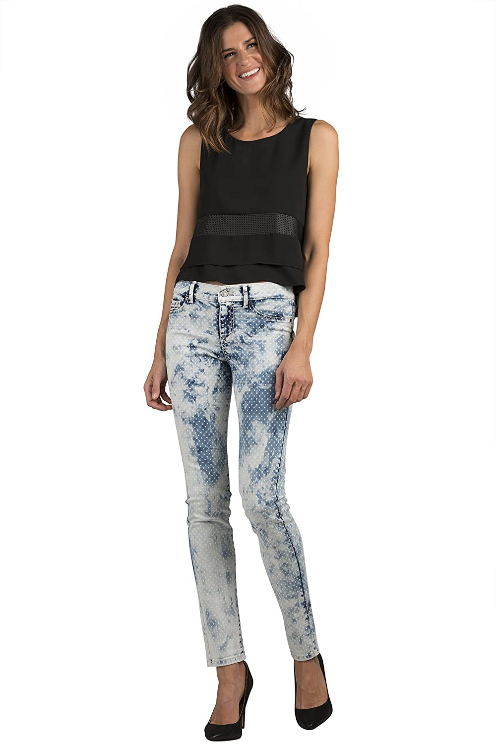 Standards & Practices Women's Stretch Denim Polka Dot Extreme Wash Skinny Jeans