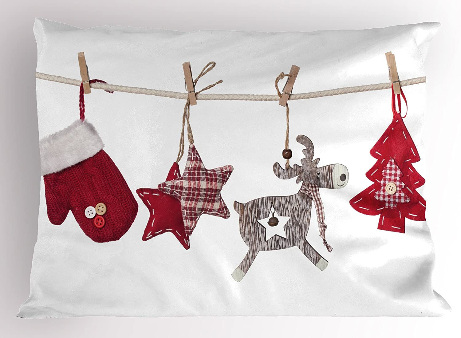 Amazon Com Ambesonne Christmas Pillow Sham Traditional Xmas Celebration Items Hanging From Rope With Clothespins Retro Decorative Standard Queen Size Printed Pillowcase 30 X 20 Cream Red Home Kitchen