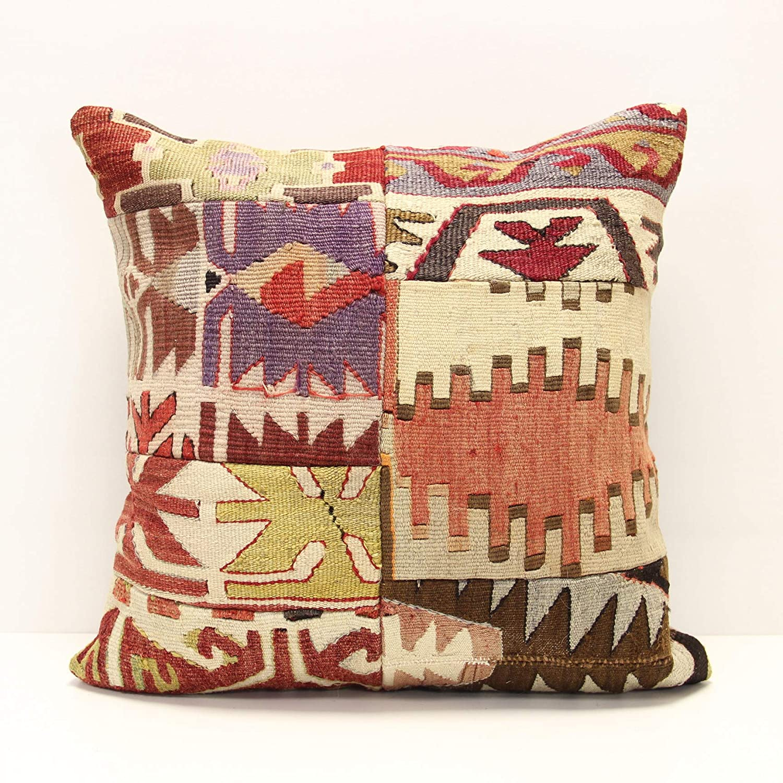 Handmade Kilim pillow Home decor Turkish pillow Accent Hand woven Cushion Cover PZ-375 45x45 cm Patchwork kilim pillow cover 18x18 inch