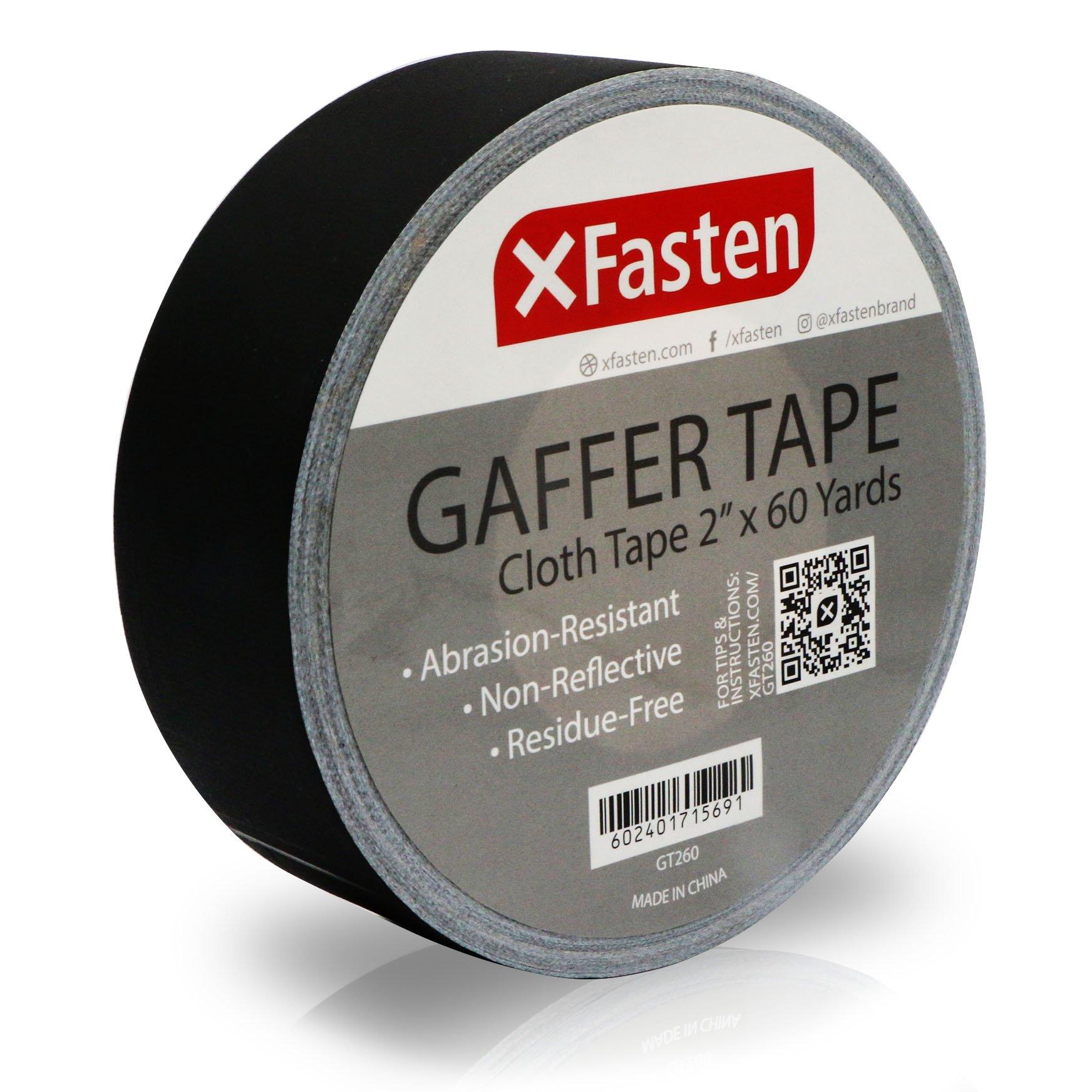 XFasten Professional Grade Gaffer Tape, 2 Inch X 60 Yards (Black) by XFasten