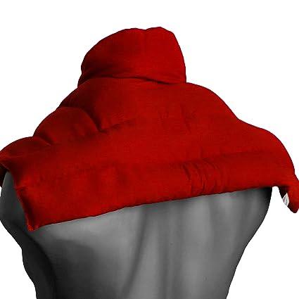 Cojín nuca, espalda superior y hombros con cuello | rojo | Saco térmico de semillas | Almohada cervical | Huesos de cerezas |