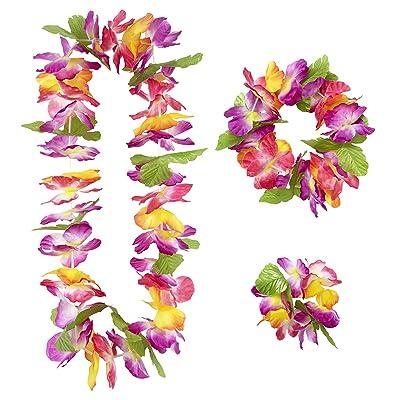 WIDMANN 9136W - Juego hawaiano Maui compuesto de collar, corona y pulsera, talla única: Juguetes y juegos