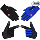 Cycling Gloves, 2 Pairs Winter Outdoor Windproof Thermal Non-slip Touchscreen Bike Gloves for Men & Women, Running Bicycle Motorcycle Phone, Made by COOLOO