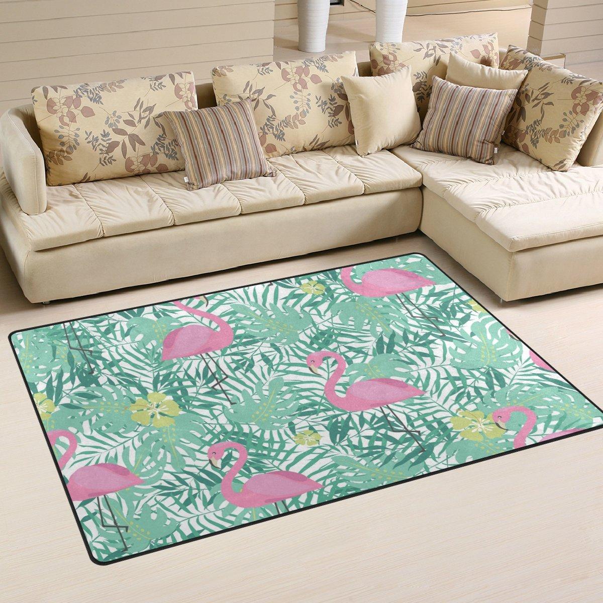 Area Rugs Kitchen Floor Mat Bedroom Carpet Watercolor Pink Flamingo Palm Leaf