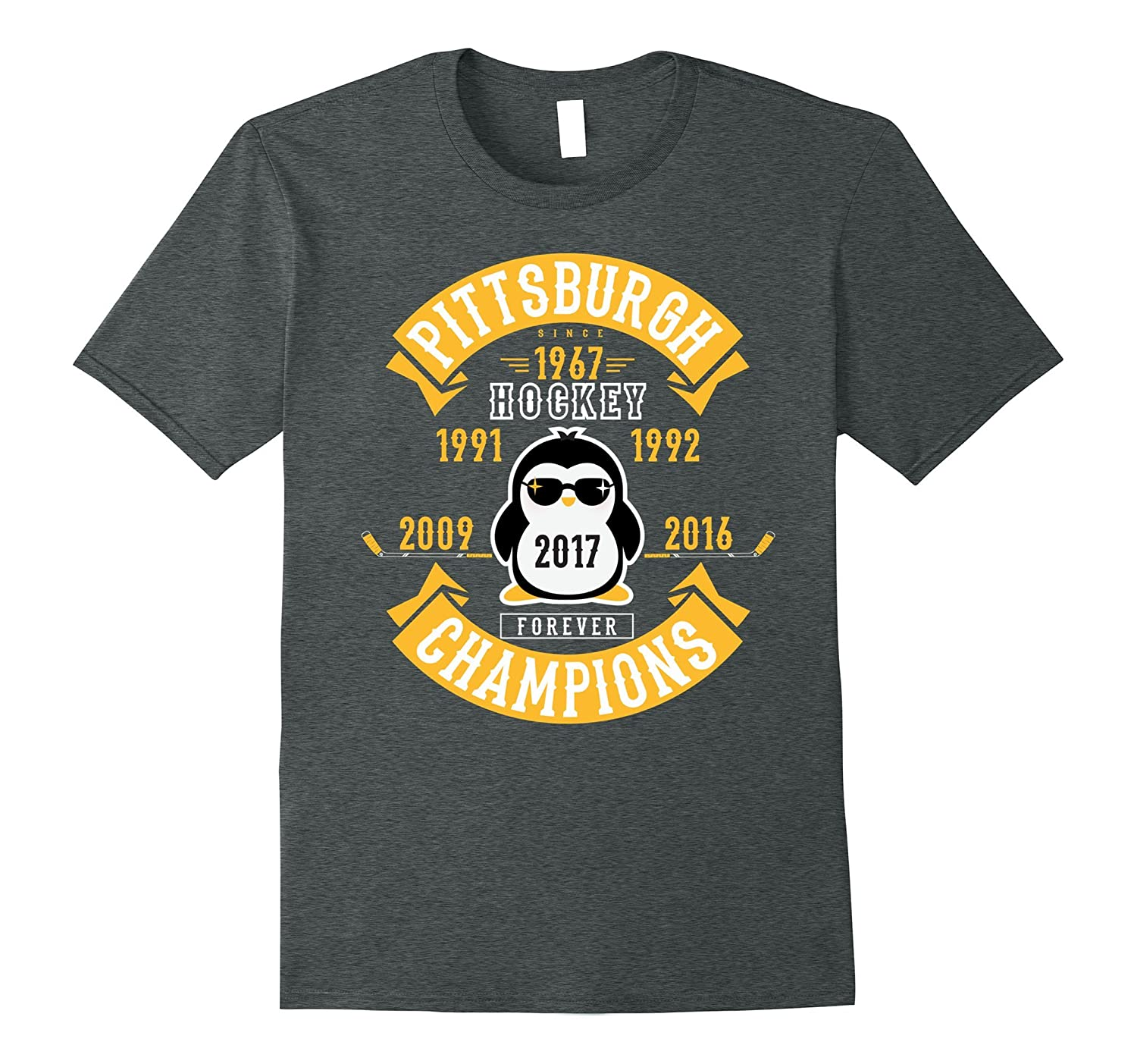 Pittsburgh Hockey 5 Times Cup Champions Cool Penguin Tshirt