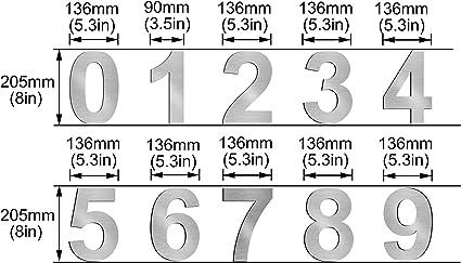 Cepillado número de casa 3 Three -20.5 cm 8.1 in-made de sólido ...