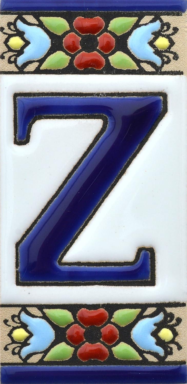 Letreros con numeros y letras en azulejo de ceramica Texto personalizable LETRA A pintados a mano en t/écnica cuerda seca para nombres y direcciones Dise/ño FLORES MINI 7,3 cm x 3,5 cm.