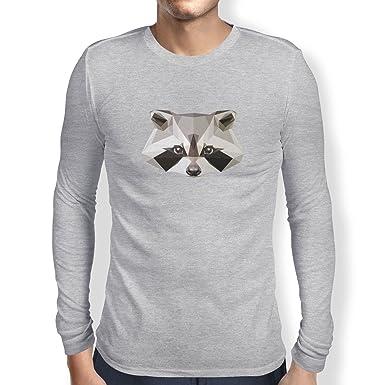 Texlab Poly Racoon - Herren Langarm T-Shirt, Größe S, Grau Meliert