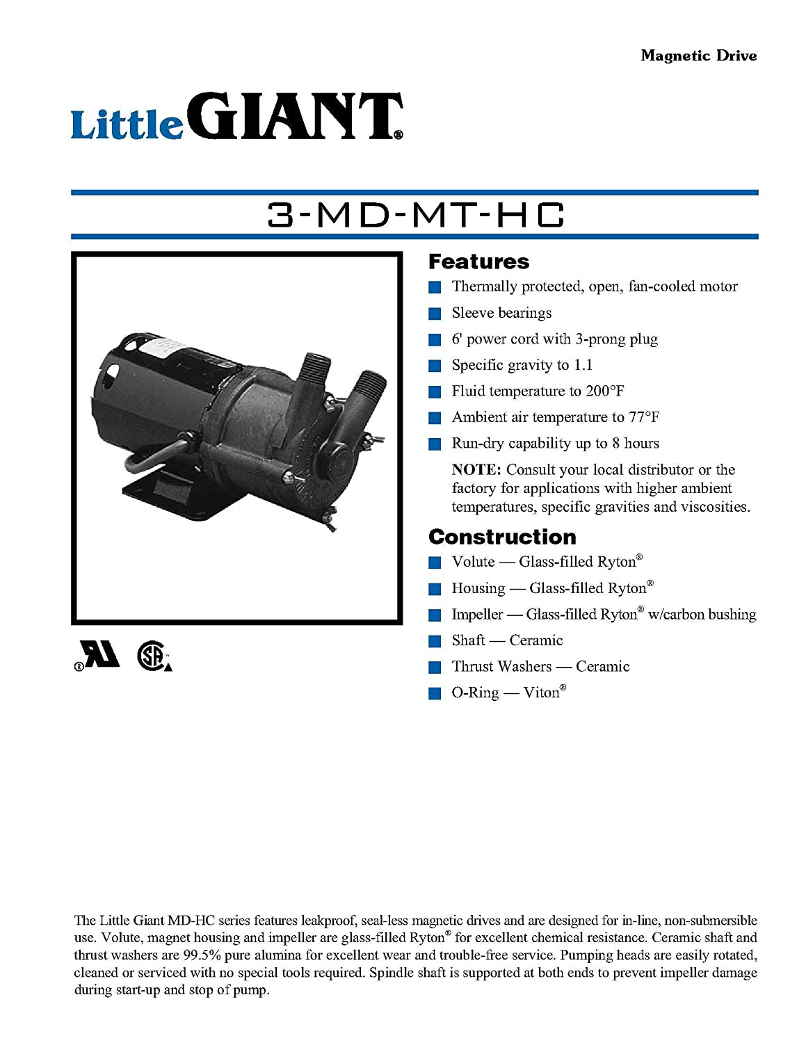 little giant 3 md mt hc 1 25 hp 500 gph 1 magnetic drive little giant 3 md mt hc 1 25 hp 500 gph 1 magnetic drive pump 6 power cord 578603 power water pumps amazon com