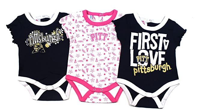 20254a2fa0f1 Amazon.com: Knights Apparel Baby Girls 3-Pack Bodysuits - Pittsburgh ...