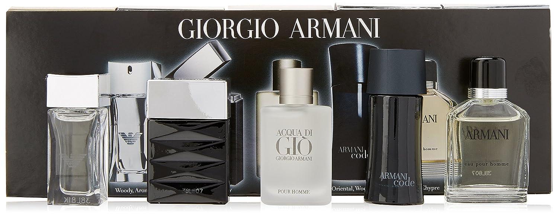 Giorgio Armani Variety for Men-5 Pc Mini Gift Set 0.17-Ounce Attitude EDT Splash, 0.14-Ounce Emporio Armani Diamonds EDT Splash, 0.17-Ounce Acqua Di Gio EDT Splash, 0.14-Ounce Armani Code EDT Splash, 0.17-Ounce Armani Eau Pour Homme EDT GAT701720