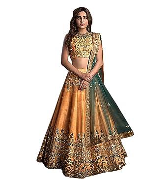 695bc239e1 Goyani International Women's Chennai Silk Heavy Embroidery Lehenga Choli  (Print JN4, Light Orange,