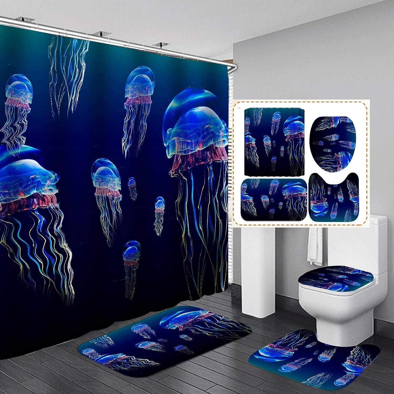"Fashion&Man 4PCS/Set Cute Jellyfish Shower Curtain Underwater Sea Life Ocean Animal Fabric Polyester Waterproof Bath Curtain Bathroom Rugs Toilet Lid Cover Bathroom Decor 72""x72"" + 12 Hooks, Style 5"