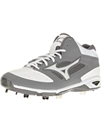Mizuno Mens Dominant Mid Grey/White Baseball Shoe