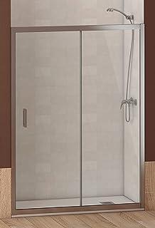 Mampara de Ducha FRONTAL - EstiloBaño® BOSTON - 1 Fijo y 1 Puerta Corredera - TRANSPARENTE - Cristal de Seguridad 6 mm -ANCHO 130 cm (medida adaptable 128 a 131 cm): Amazon.es: Bricolaje y herramientas