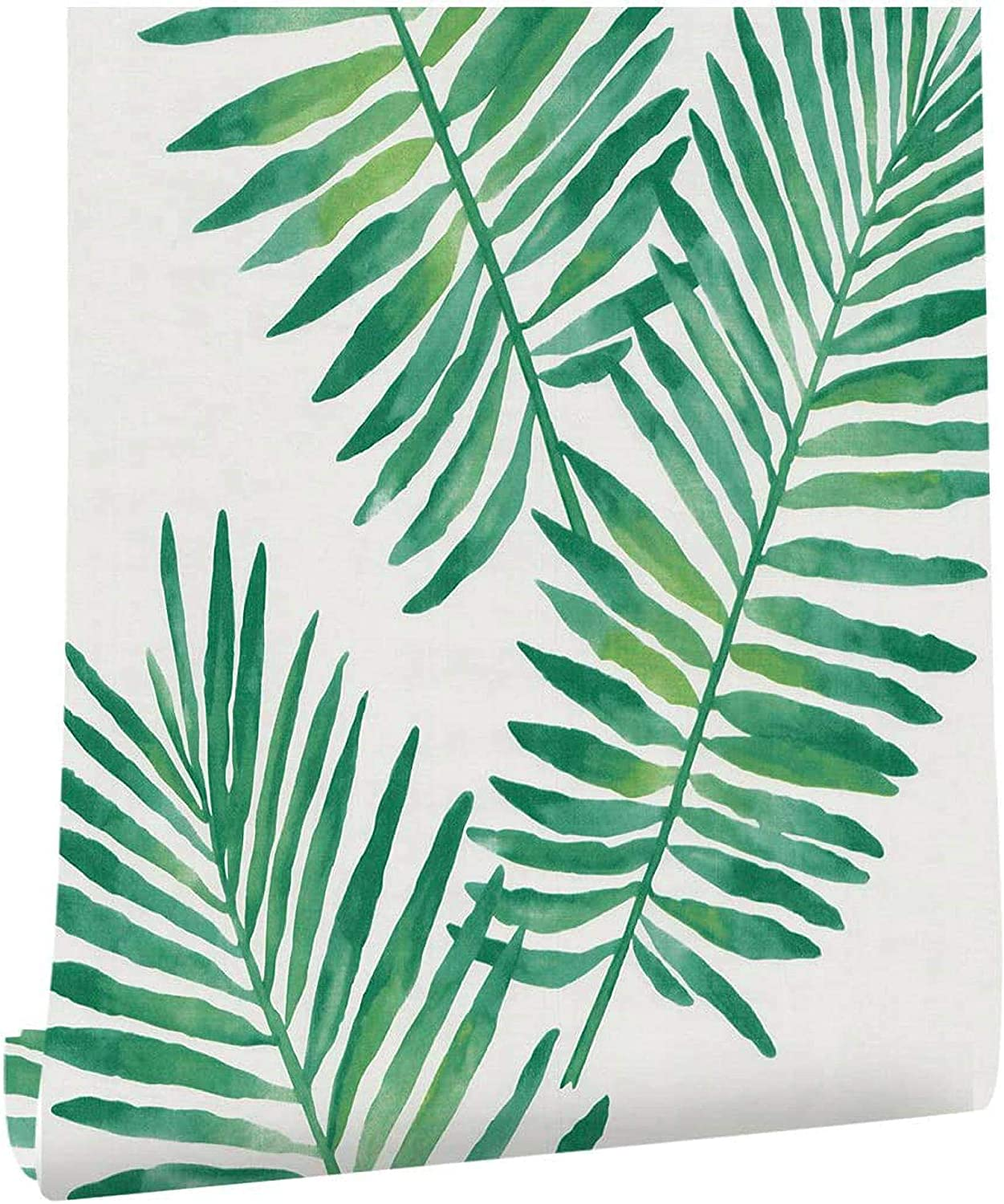 "Palm Peel and Stick Wallpaper Shiplap Green Self Adhesive Removable Wallpaper,Waterproof Wallpaper and Shelf Liner,Home Decaration Wall Covering 17.7"" ×118"""