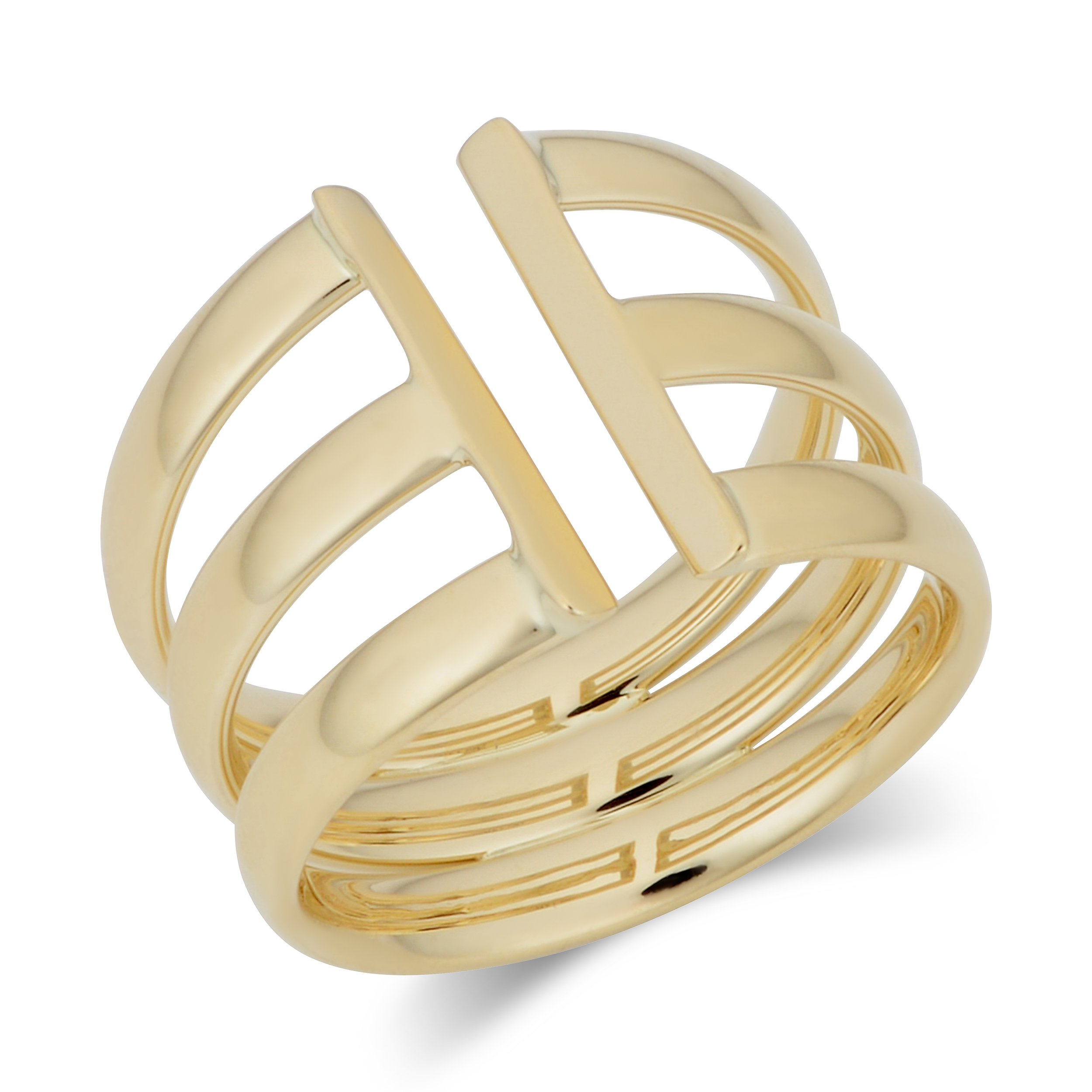 14k Yellow Gold Triple Open Band Ring (size 9)