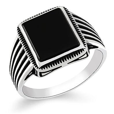 90081b5f5a3b70 Chimoda Turkish Silver Jewelry Black Onyx Stone 925 Sterling Men's Ring  Striped Design ...
