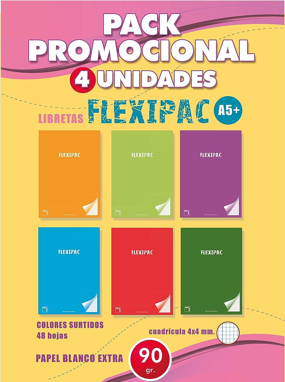 Pacsa 20046E - Pack 4 cuadernos A5, PP, 90 g, 48 hojas: Amazon.es ...
