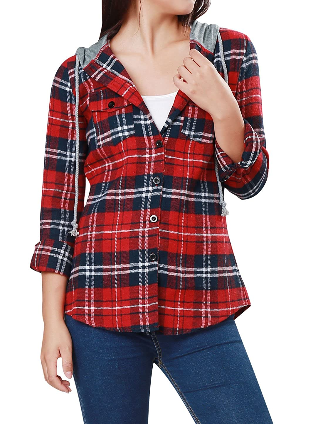 Women's Button Down Plaids Drawstring Hoodie Shirt Allegra K s18040800it0029