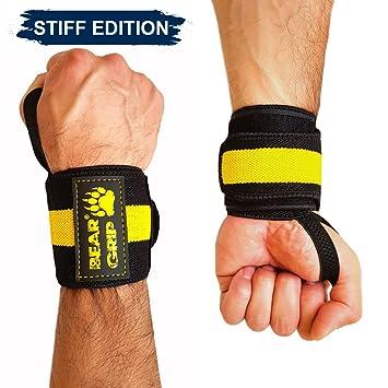 BEAR GRIP - Muñequeras prémium para levantamiento de pesas (se venden por pares), amarillo: Amazon.es: Deportes y aire libre
