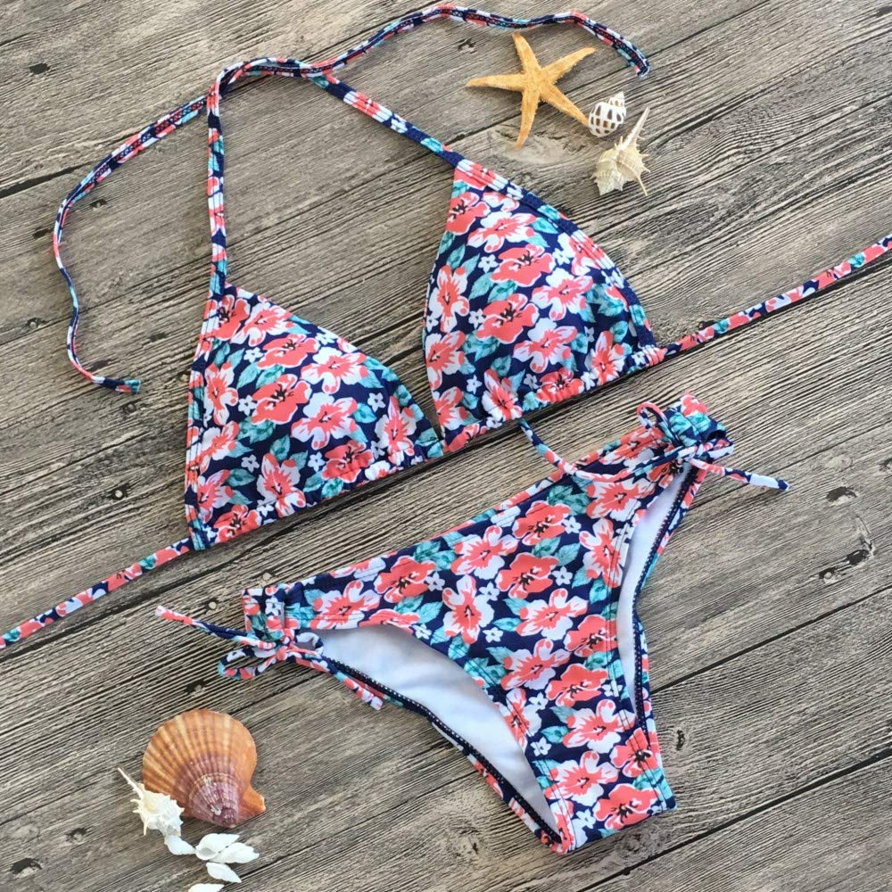 Zlolia Womens Floral Print Bikini 2 Pieces Hollow Out Push-Ups Halter Swimsuit with Strap Panties Summer Boho Beachwear