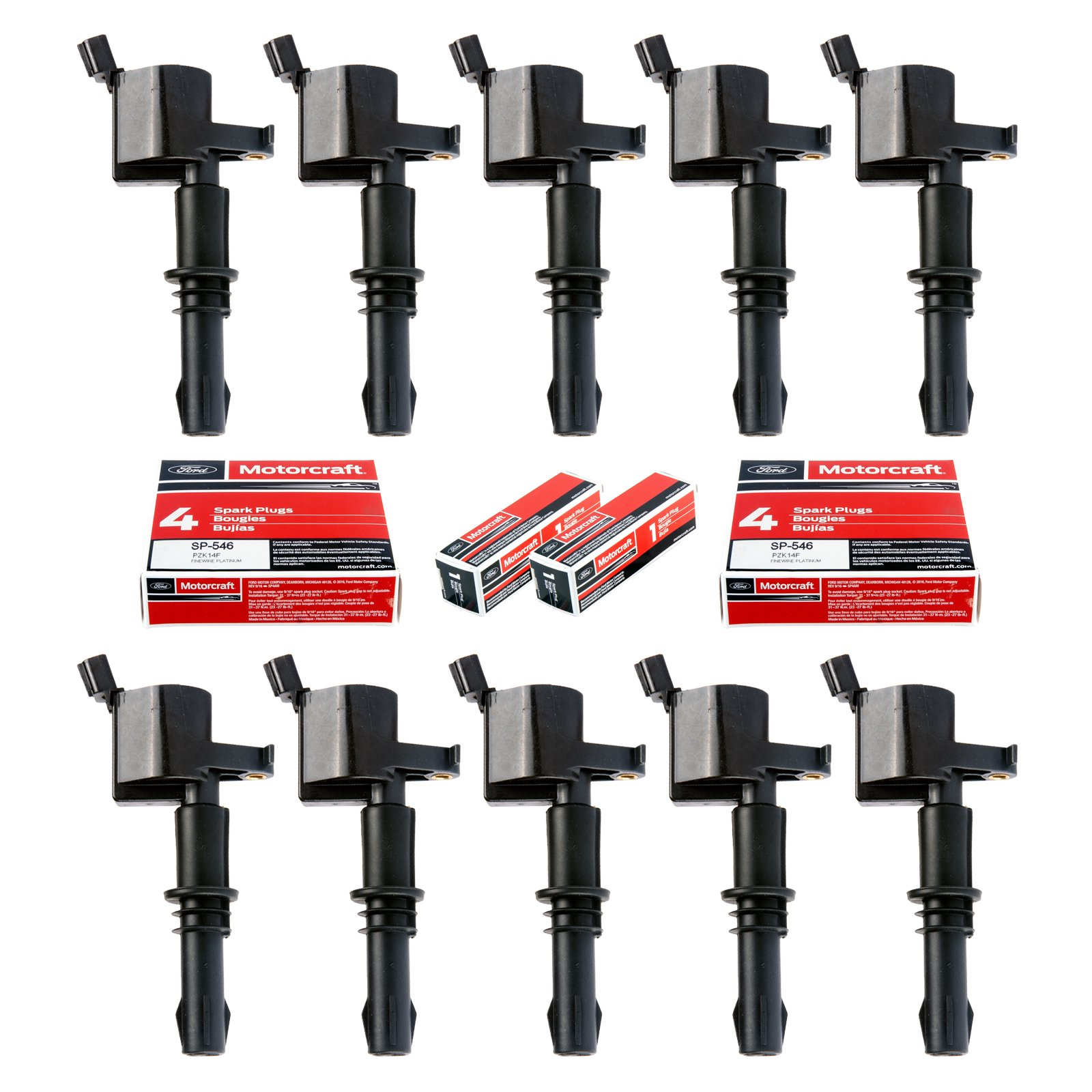 Set of 10 Motorcraft SP515 SP546 Spark Plugs and 10 Straight Boot Ignition Coils DG511 for Ford Lincoln Mercury V8 V10 4.6l 5.4l 6.8l Compatible with 3L3E12A366CA 5C1584 C1541 FD-508 UF-537 DQ50101D by King Auto Parts