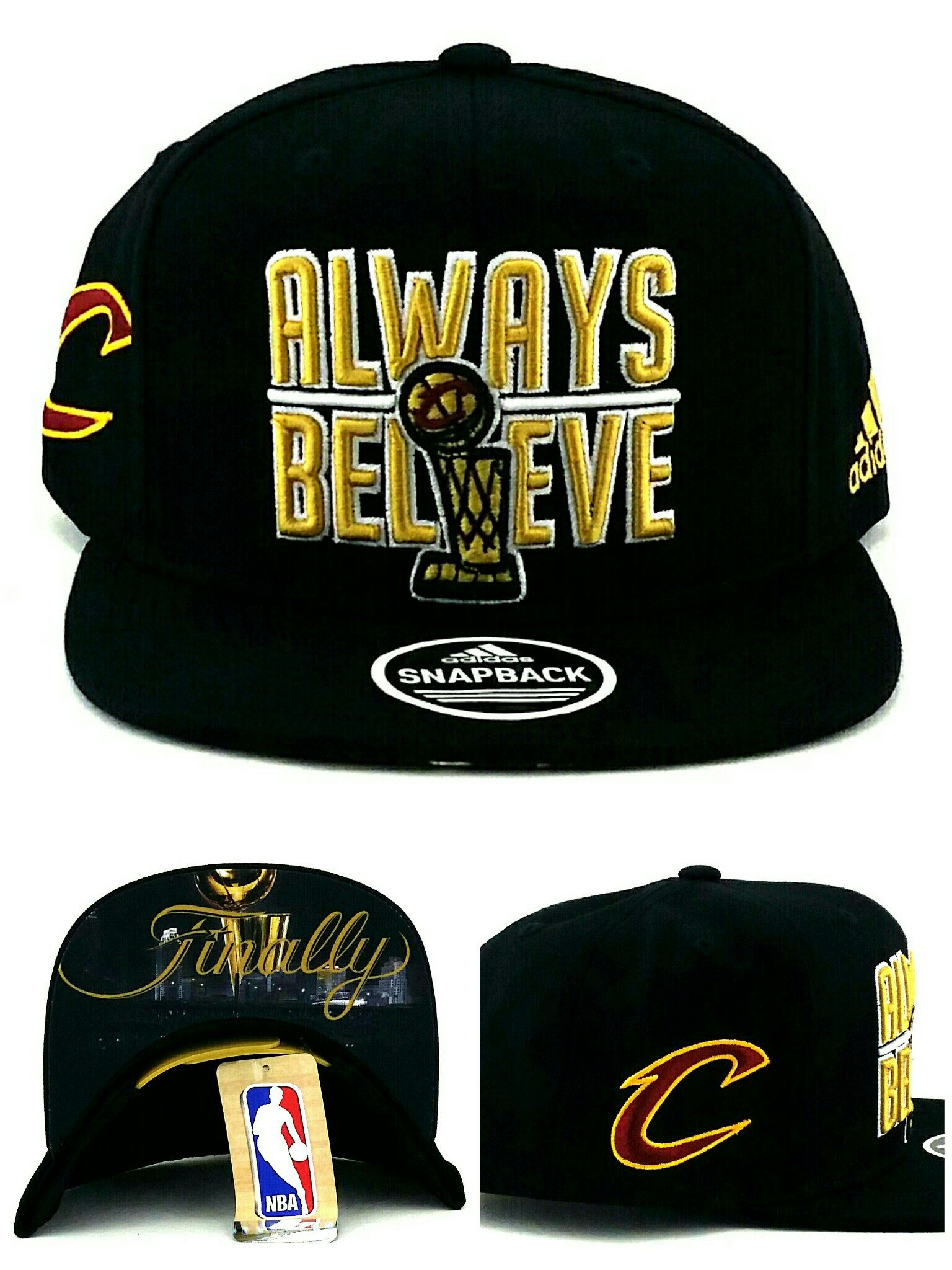 adidas Cleveland Cavaliers New NBA Finals Trophy Always Believe Finally Black Era Snapback Hat Cap by adidas