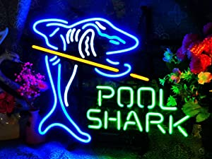"XPGOODUSA-POOL SHARK Neon Sign-17""×13"" for Home Bedroom Garage Decor Wall Light, Striking Neon Sign for Bar Pub Hotel Man Cave Recreational Game Room"