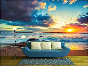 wall26 - Beautiful Cloudscape Over The Sea, Sunrise Shot - Removable Wall Mural | Self-Adhesive Large Wallpaper - 66x96 inches
