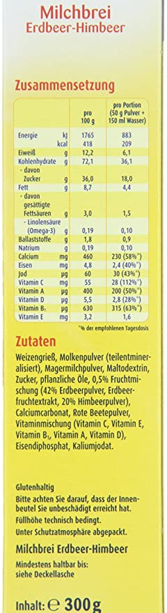 6er Pack Bebivita Milchbrei Erdbeer-Himbeer 1216 Babynahrung 6 x 300 g