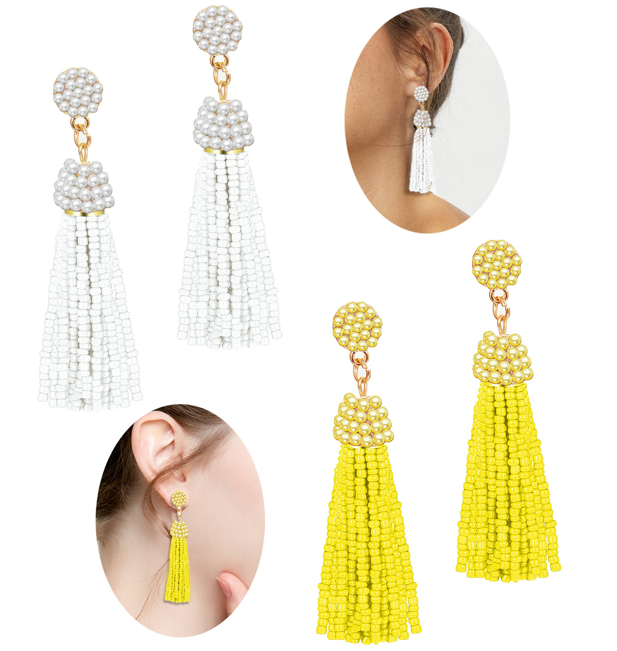 LOLIAS Beaded Tassel Dangle Earrings for Women Girls Bohemian Statement Fringe Drop Earring White Yellow