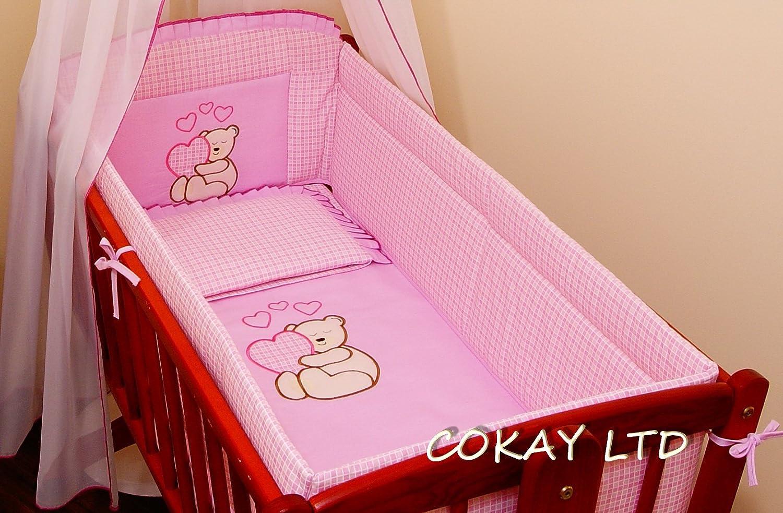 6 pcs bedding set /Bumper/sheet/duvet/ to fit baby swinging crib (PINK) COKAY LTD