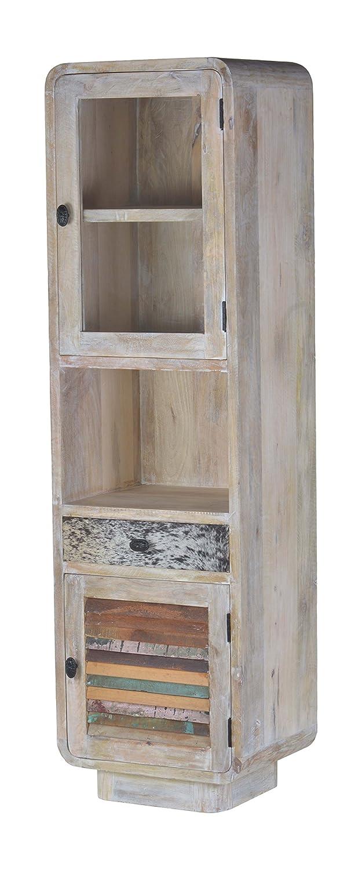 The Wood Times Wohnzimmerschrank Schrank Massiv Vintage Look, Mangoholz, BxHxT 50x175x40 cm