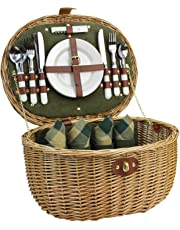 HappyPicnic 'Oval' Willow Picnic Basket with Service for 4 Persons, Natural Wicker Picnic Hamper with Military Green Corduroy Lining, Willow Picnic Set, Picnic Gift Basket (Military Green)