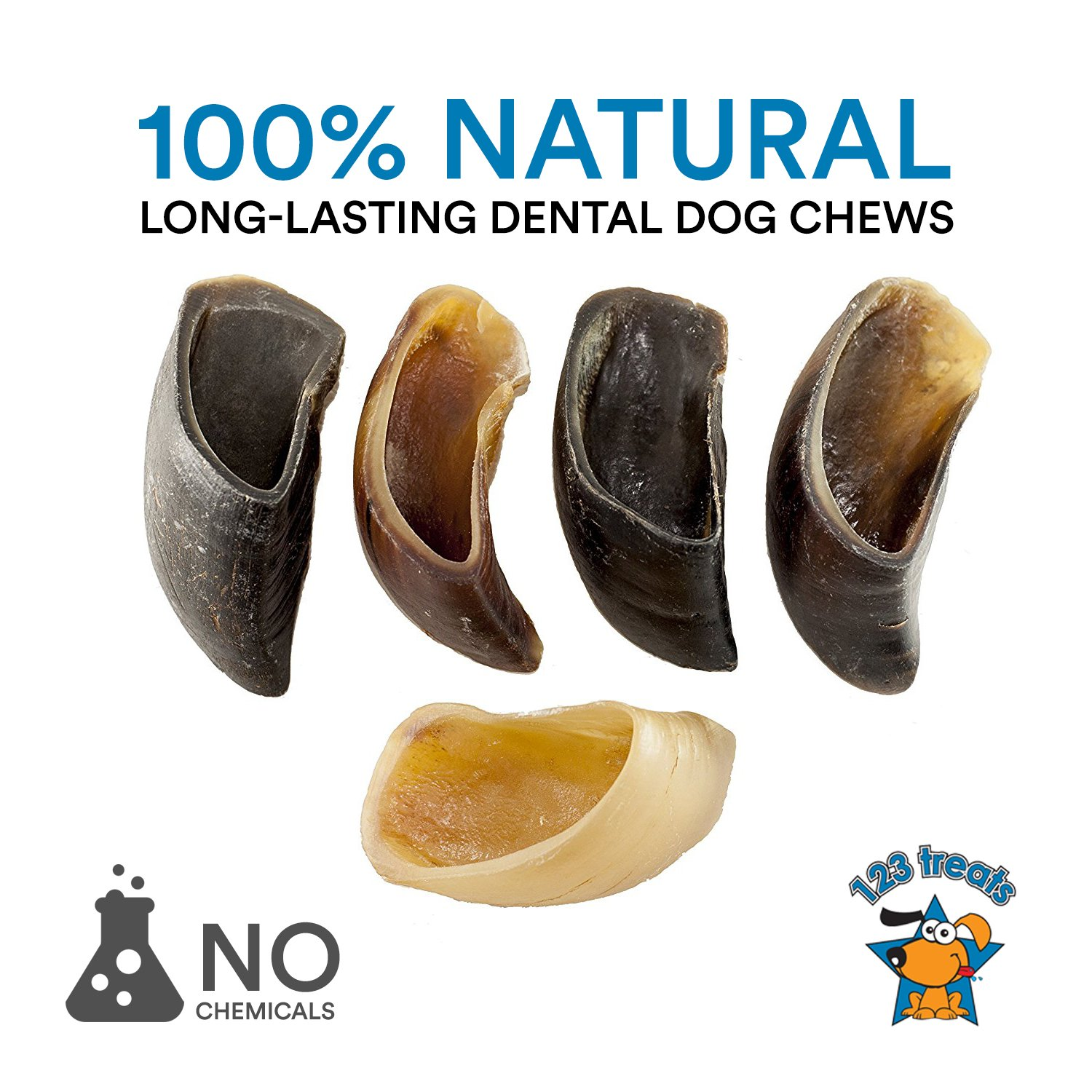123 Treats | Hooves for Dogs (25 Count) 100% Natural Long-lasting Dental Dog Chews Made from Beef Hoof | From Free Range, Grass Fed Cattle with NO additives, coloring or chemicals by 123 Treats (Image #2)