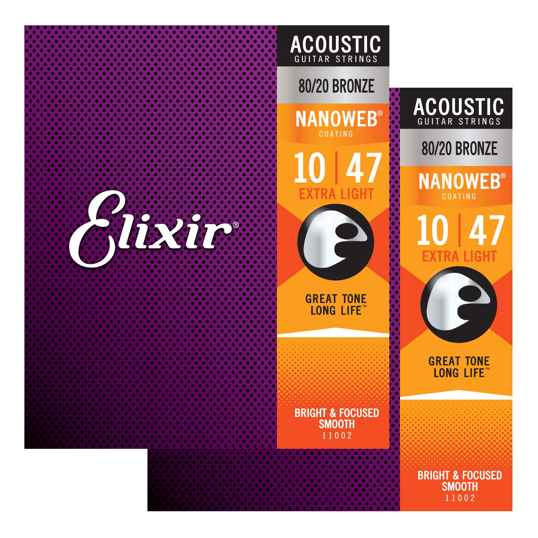 Elixir Nanoweb Extra Light Acoustic Guitar Strings 2-Pack by Elixir