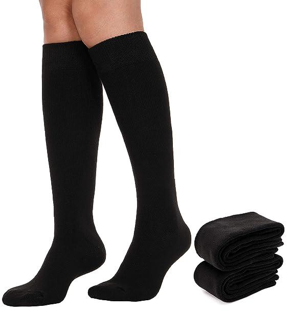 47c19c24b06 2 Pack Womens Knee High Socks Long Stockings Warm Comfort Cotton Boot  Winter Socks (Black