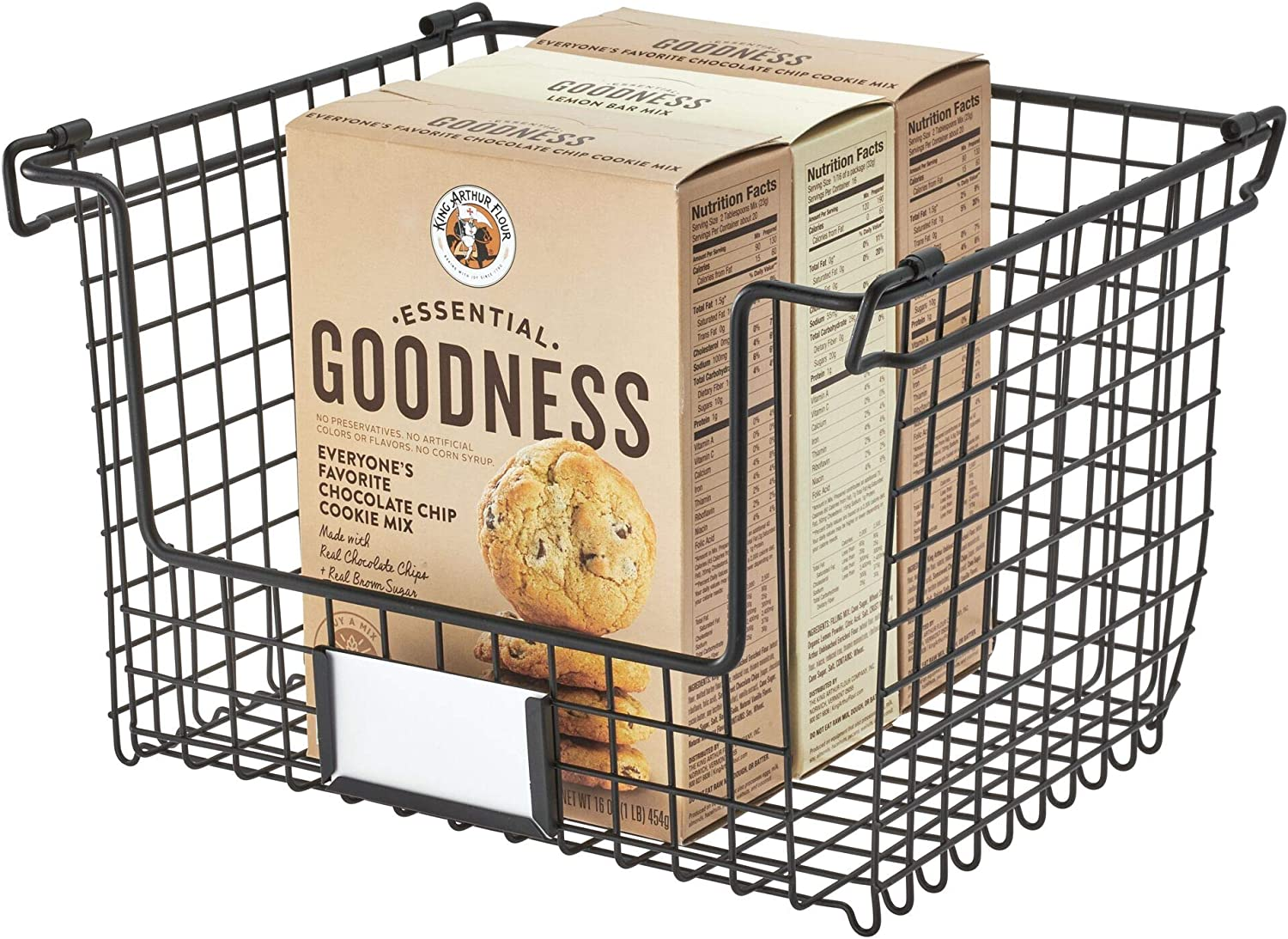 """iDesign Classico Storage Basket with Handles for Pantry, Kitchen, Bathroom, Countertop, and Desk Organization, 12"""" x 10"""" x 7.75"""", Stackable - Large"""