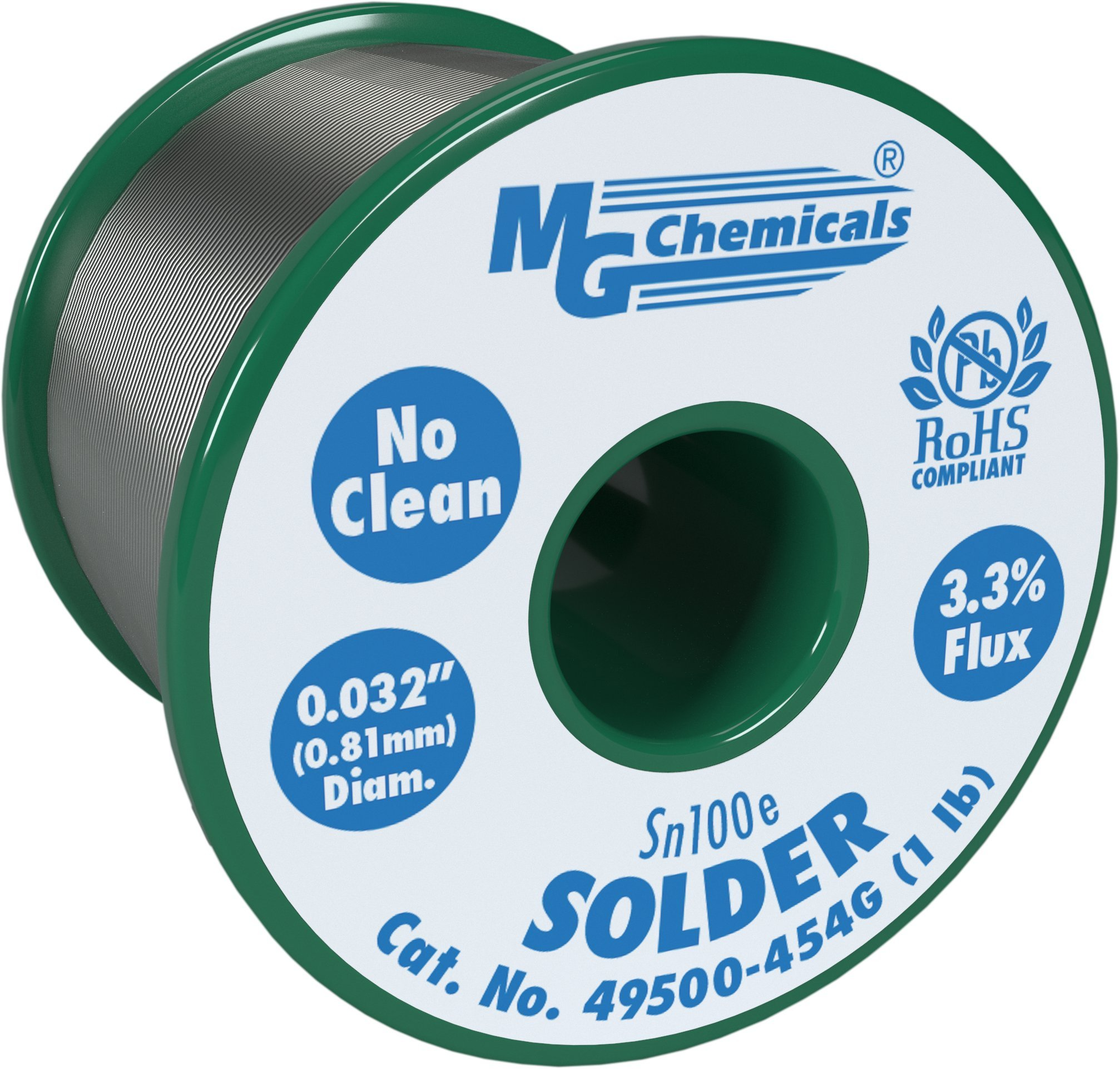 MG Chemicals Sn100e No Clean Lead Free Solder, 0.032'' Diameter, 1 lb. Spool