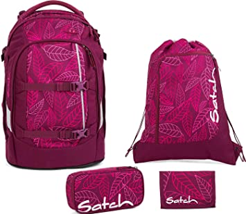 8049dee95ea6a Satch Schulrucksack-Set 4-TLG Pack Purple Leaves Lila  Amazon.de ...