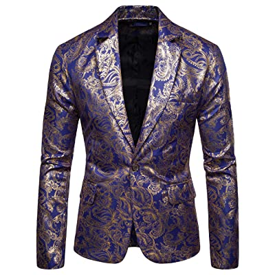 COOFANDY Men's Metallic Suit Jacket Luxury Stylish Slim Fit Blazer One Button Sport Coat at Amazon Men's Clothing store