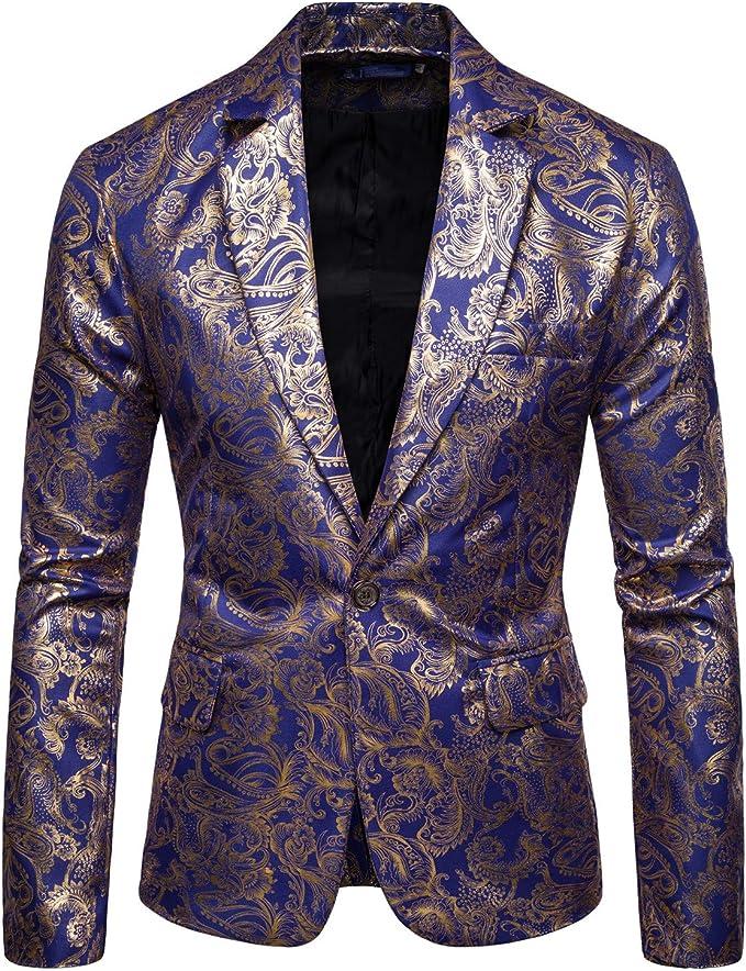 Amazon.com: COOFANDY - Chaqueta de traje metálico para ...