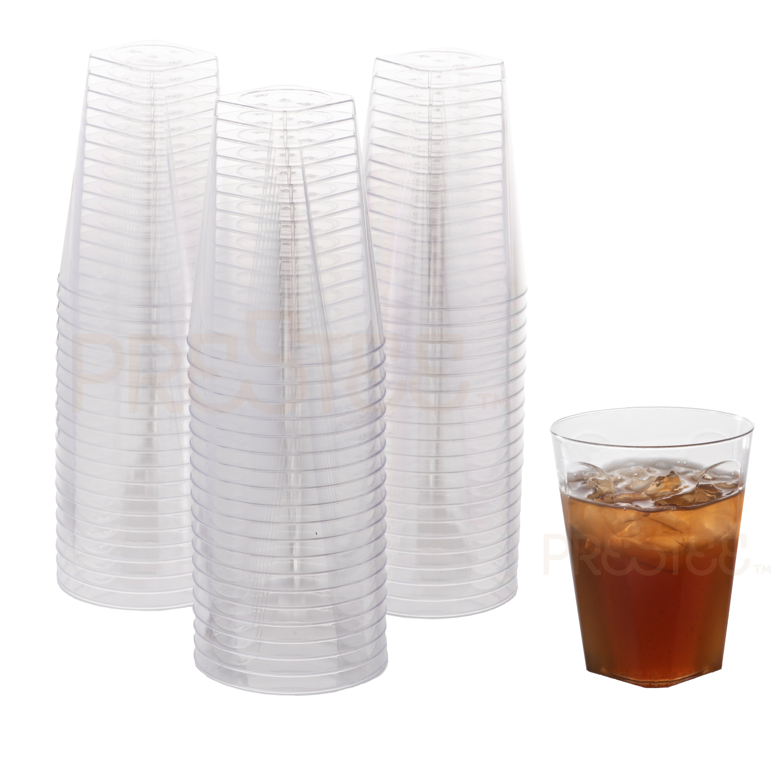 7 oz Clear Plastic Cups | Square Disposable Cups | Old Fashioned Tumblers | 80 Pack | Beverage Party Cups | Hard Plastic Drinking Cups | Ideal for Wine, Cocktails & Punch [Drinket]